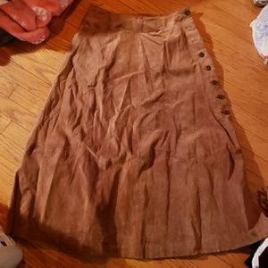 Vintage pin up a line long suede hippie skirt